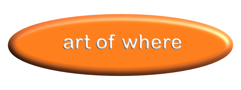 an image of an orange surfboard shaped button with the name art of where on it