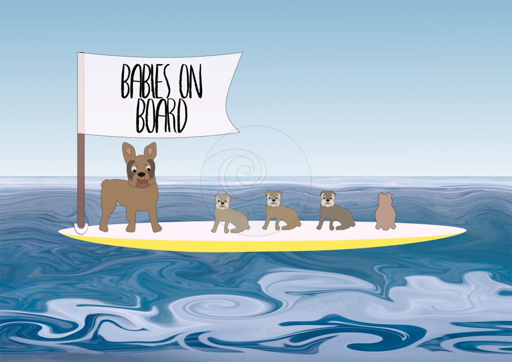 image of French Bulldog puppies on a SUP - surf art by Barefoot Bodeez Art