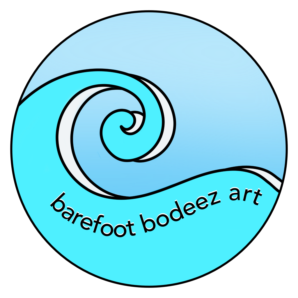 an image of a circular image depicting barefoot bodeez art logo of a large turquoise wave