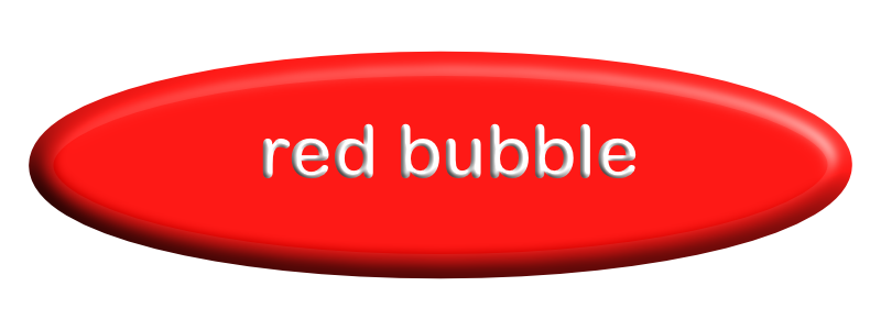 an image of a red surfboard shaped button with the name red bubble on it